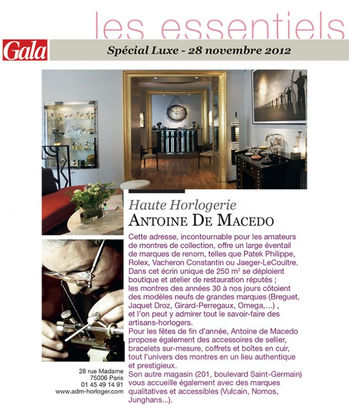 Antoine de Macedo dans Gala « Spécial Luxe » – novembre 2012